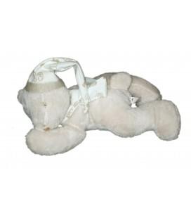 Peluche doudou ours blanc beige bonnet allonge Maxita 25 cm