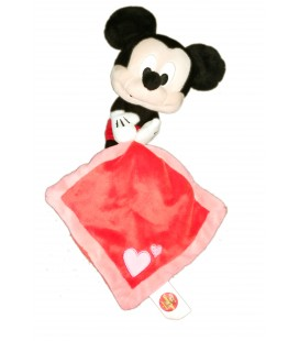 Doudou Mickey Mouchoir rouge rose coeur PTS SRL Nicotoy 18 cm