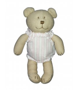 Peluche doudou ours beige Jacadi chemise rose rayures 25 cm