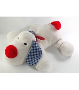 Doudou Peluche chien blanc Jacadi 40 cm foulard rouge oreilles carreaux bleus