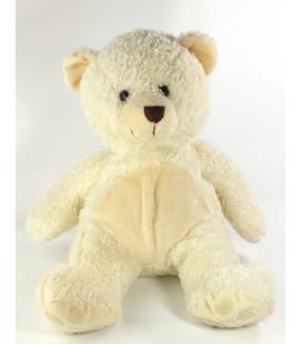 Peluche ours blanc Marionnaud SANS Noeud marron 38 cm