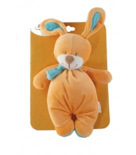 Peluche doudou Lapin orange Bengy echarpe bleue 35 cm