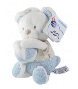 Mots d enfants Jouet Musical - Ours bleu blanc ballon 26 cm doudou peluche