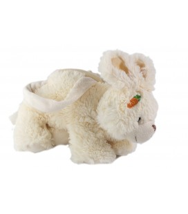 Peluche doudou Sac a main lapin blanc Fizzy carotte 26 cm