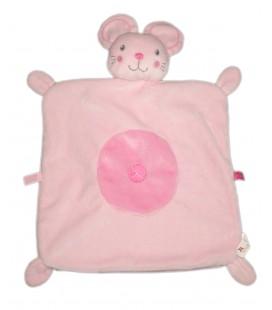 Doudou plat souris rose croix etiquettes Nicotoy 579/0819