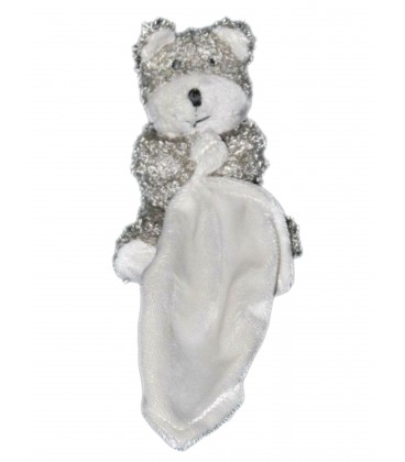 Peluche doudou ours gris blanc CARTOON CLUB mouchoir 10 cm assis