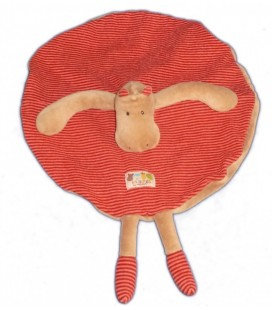 Doudou plat HIPPOPOTaME Moulin Roty Les Loupiots Rond rayures rouges Marron Isabelle
