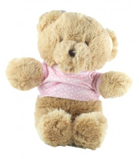 Peluche doudou ours beige pull rose pois 30 cm Toys r us