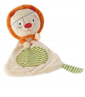 Doudou plat Lion beige orange vert rayures OXYBUL Fnac Eveil et Jeux
