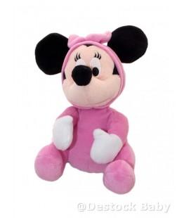 Doudou peluche MINNIE bébé pyjama rose DISNEY PTS SRL noeud 26 cm