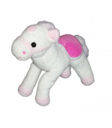 Peluche doudou Cheval blanc rose Gipsy 22 cm