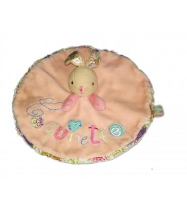 Doudou plat rond lapin rose Coquinette Kaloo - Tache Voir description