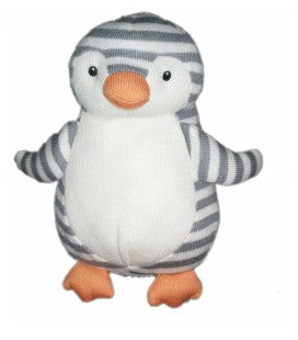 Peluche doudou grelot tissu Pingouin Jellycat 22 cm blanc gris rayures