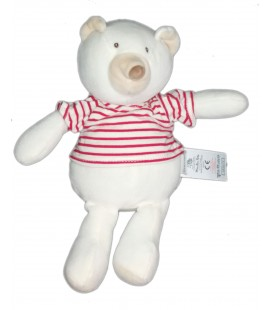Doudou ours blanc t shirt pull raye rouge Linvosges Moulin Roty 26 cm