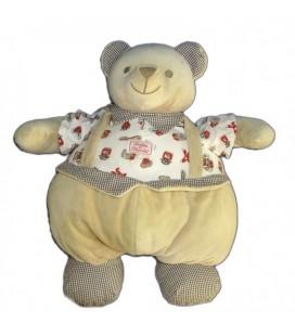 Doudou peluche OURS beige TaRTINE ET CHOCOLaT 36 cm tisu imprimé confitures