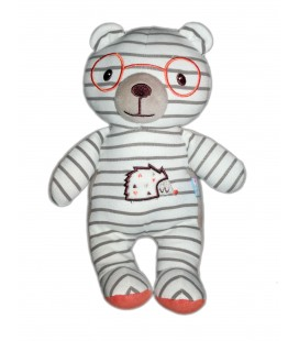 Doudou tissu ours Sucre d orge Lunettes rayures herisson 25 cm