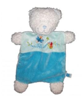 Doudou Plat Chat Renard Bleu Gris Blanc Etoiles Pois Tex Baby Carrefour Neuf
