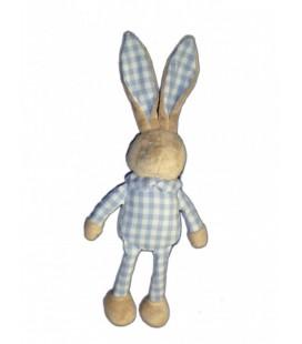 Doudou LAPIN bleu bébé Laboratoires KLORANE 40 cm tissu carreaux vichy