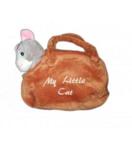 Peluche doudou chat gris sac a main roux marron My little Cat Zeeman 25 cm