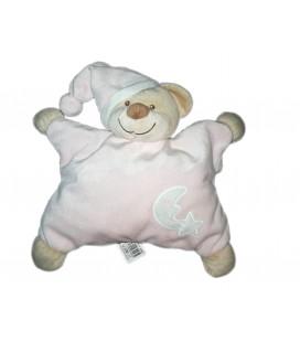 Doudou ours rose Bout chou Monop Monoprix Lune etoile 25 cm