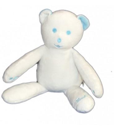 Doudou OURS blanc bleu turquoise yeux bleus Musti de Mustela 25 cm