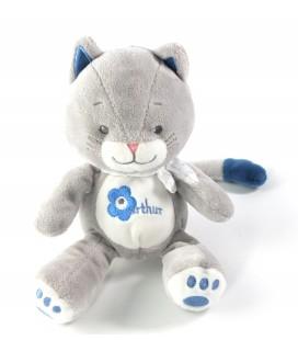 Commandez sur notre site votre Doudou peluche Chat gris bleu Arthur et Lola