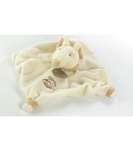 Doudou plat souris blanche beige Nature Doudou et Compagnie