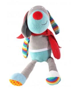 Peluche doudou Chien bleu gris cape rouge Ebulobo 36 cm