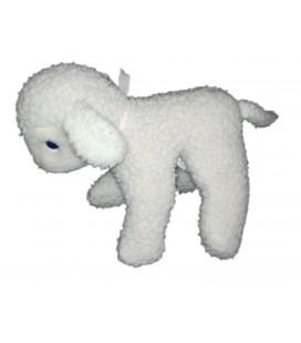 Peluche mouton blanc Boulgom H 20 cm Yeux bleux nez vert