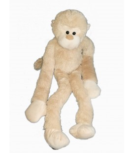 Peluche singe beige Max & Sax Carrefour longues jambes bras 70 cm