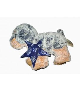 Peluche doudou chien bleu orange roux chine Etoile Nicotoy 583/4688 22 cm