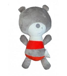 Doudou ours souris gris rayures rouges ORCHESTRA 25 cm