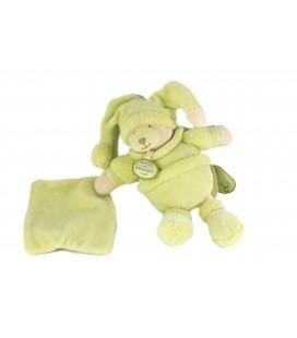 DOUDOU ET COMPAGNIE Ours vert amande Douceur Macaron Mouchoir 18 cm