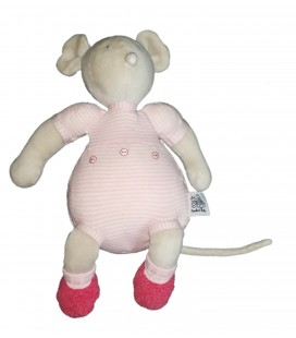 Peluche doudou Souris rose Moulin Roty 30 cm rose rayures