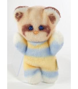 Peluche doudou ours bleu blanc jaune Pastel 18 cm Yeux bleus