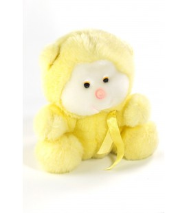 Vintage Ancienne peluche ours singe jaune blanc nez rose ruban satine 20 cm Boulgom ?