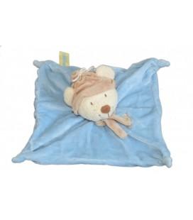 Doudou plat OURS bleu beige - ORCHESTRA - Echarpe - 4 noeuds 23x23cm