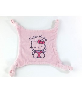 Doudou plat rose HELLO KITTY - 4 noeuds - Licence SANRIO