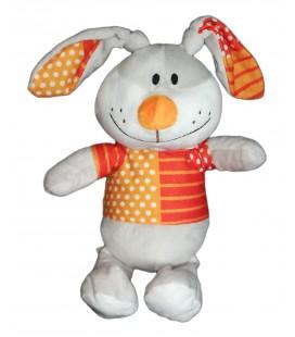 Peluche doudou lapin orange pois rayures Fizzy Lapi Choco 32 cm