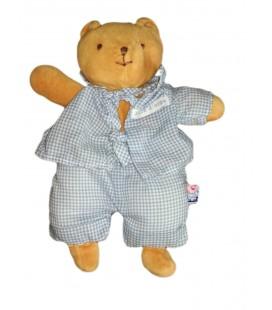 Doudou ours marron beige pyjama bleu carreaux Sucre d Orge 24 cm