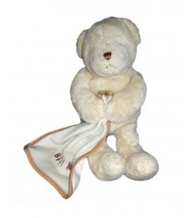 Doudou peluche ours blanc Mouchoir 25 cm Baby Nat