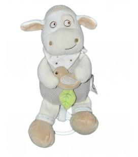 Peluche doudou musical Mouton beige 26 cm Mots d'Enfants