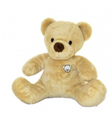 Doudou peluche ours beige NICOTOY The Baby Collection Nez marron Tete assis 40 cm