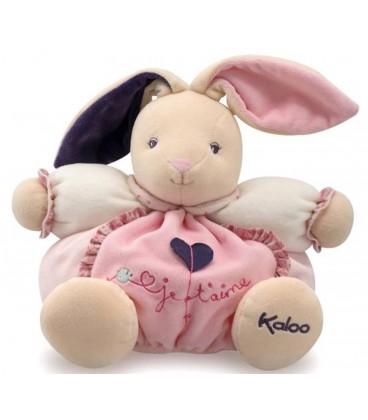 Kaloo - Peluche doudou lapin patapouf je t aime petite rose 25 cm