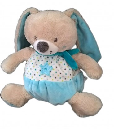 Peluche doudou Lapin bleu blanc 20 cm Mots d Enfants Etoiles