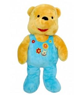 Doudou Peluche WINNIE 55 cm Pyjama Grenouillere bleue Disney Nicotoy Fleurs