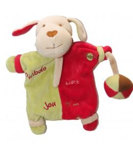 BABY NAT - Marionnette BN299 Doudou CHIEN Diabolo - Vert rouge - Ballon