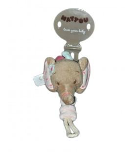 Attache tetine doudou Elephant Nattou
