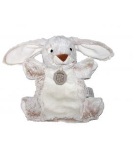 Peluche doudou marionnette Lapin blanc beige chine Valloire Histoire d Ours 24 cm