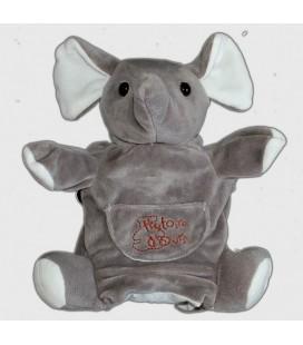 Doudou ELEPHaNT gris Histoire d'Ours Marionnette